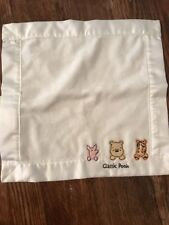 Classic Winnie The Pooh Cream Baby Lovey  Satin Square Patch Ivory Off White