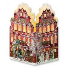 Deluxe Mini Advent Calendar Christmas Card - Tealight Lantern - Red House