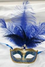 BLUE & GOLD FEATHER MASK VENETIAN MASQUERADE BALL CARNIVAL PARTY EYE MASK