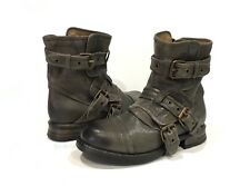 UGG COLLECTION ELISABETA BIKER BOOTS BUCKLE ASH GRAY LEATHER WOMEN'S US 5 -New
