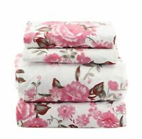 Beautiful Bedding Super Soft Egyptian Comfort Floral Sheet Set Pink Rose
