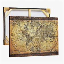 Old Map Painting Canvas Framed Stretched Print Vintage Map of World Artwork Wall