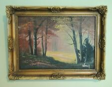Antique FOREST POND Original OIL PAINTING Haunted Spooky Halloween Eerie Signed