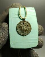 Authentic Artifact Warrior Amulet Talisman Crusader's Era ca.12th-13th AD #136