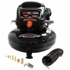 Speedway 3 gal Pancake Compressor Oil Free Incl 25' PU Recoil Hose Inflation Kit