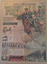 OCT 18, 1914 NEWSPAPER #J5596- EQUESTRIAN- MAN'S DUMB PARTNERS IN WAR- THE HORSE