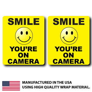 2x Smile You're On Camera Sticker Decal Sign security safety quality protection