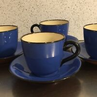 Torquay Barton Pottery Tea Cups Saucers 8 Pieces Staffordshire Red Ware Vintage