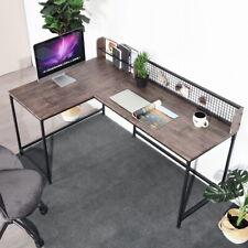 Walnut Corner Desks L-Shaped PC Workstation for Home Office Stable Metal Tables