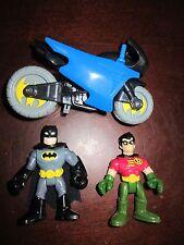 Fisher Price Imaginext DC Super Friends Batcave Batman Robin Batcycle Older NEW