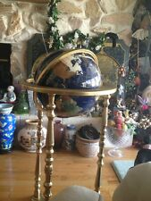 Beautiful Assorted Gemstone GLOBE Brass Floor Stand, Semi-Precious Stones