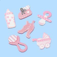 12 Holzstreuteile zur Taufe Geburt Babyparty Geburtstag rosa Mädchen Tischdeko