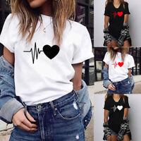 Women's Short Sleeve Heart Print Summer Casual Loose T-Shirt Tops Blouse Tee