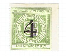 Freshwater Yarmouth & Newport Railway 1923 4 on 4 on 3d green letter stamp