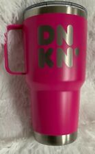 Dunkin Donuts 28oz Stainless Handle Tumbler HOT PINK Insulated Travel Mug NEW