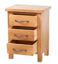 Solid Oak Bedside Table Small Bedroom Furniture Side Cabinet Unit 3 Drawer Wood