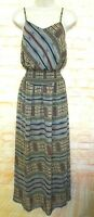 fire Los Angeles Women Size S Floral Chiffon Maxi Dress Spaghetti Strap Pullover