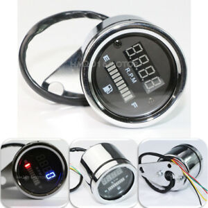 HMmotor Universal Waterproof Motorcycle Digital LED Tachometer Gas Fuel Gauge