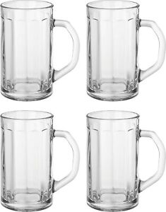 Circleware Glass Beer Mugs with Handle, Heavy Base (Set of 4) 16.4oz Heavy Base