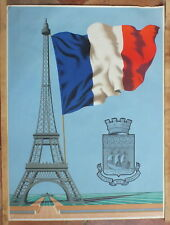 affiche ancienne Paris Tour Eiffel USPF Fluctuat Nec Megitur 99 x 73,5 cm