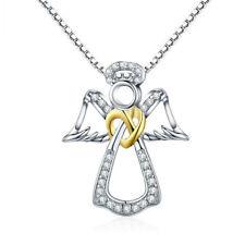 Damen 925 Sterling Silber Kette mit Schutzengel Engel Herz Knoten Zirkonia 45cm
