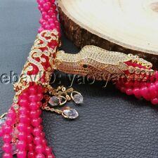 K091204 7Strands 18'' Red Jade Dragon CZ Pendant Necklace