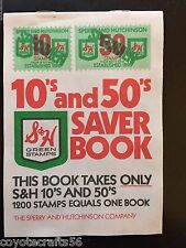 Vintage 1960's S&H Green Stamps 10's & 50's Saver Books 4 Books