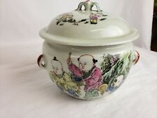 """Nice antique chinese Famille Rose covered bowl 6"""""""