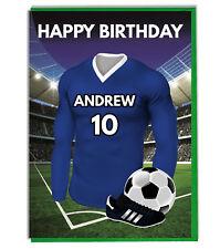Personalised Football Shirt Birthday Card Son Husband Dad Boys Blue Kit