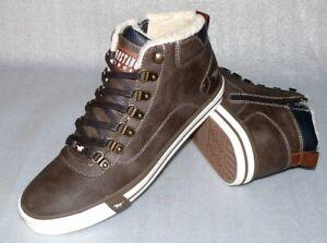 Mustang MID Warme Winter Leder Schuhe Boots Stiefel Warm Futter 42 Braun S25 ZIP