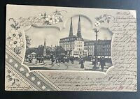 Litho AK DRESDEN Postplatz Kutschen Passanten gestempelt/o Milkel 1904