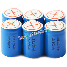 6pcs 4/5 SubC Sub C 2800mAh 1.2V Ni-Mh Rechargeable Battery Blue Cell with Tab