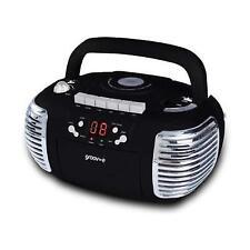 Groov-e Retro Boombox Black Portable CD & Cassette Player With Radio GVPS813BK