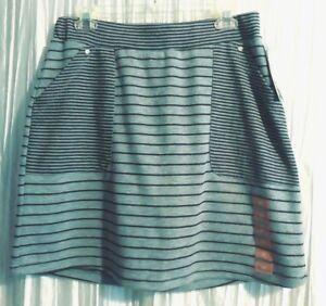 New  *JONES NEW YORK*  Sport Cotton, Gray, Black Stripe Tennis/Golf Skort,  Med