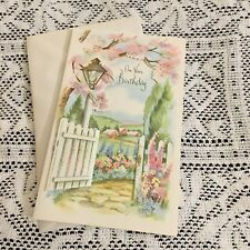 Vintage Greeting Card Birthday Flowers Pink Trees Fence