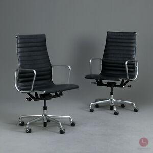 Herman Miller USA Aluminium office chair Leder Bürostuhl Schwarz Eames EA119 TOP