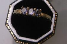 Women's Gold 9ct Gold Amethyst Ring Three-Stone Hallmarked Weight 2.4g Size N