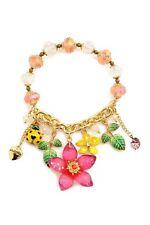 Betsey Johnson Gold Tone Half Stretch Flower Lady Bug Bracelet New 885043538082