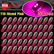 50X Vivid Pink T10 Wedge 360°10SMD LED Side Interior Light W5W 2825 158 192 194