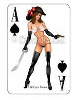 Sexy Pirate buccaneer pinup babe playing card decal sexy pin-up babe sticker