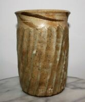 "Vintage Studio Pottery Brush Pot Vase 6.25"" inch Signed"