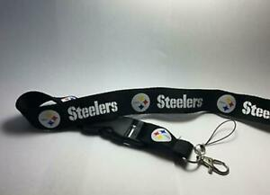 Pittsburgh Steelers Lanyard ID Badge Key Chain Clip Face Mask Holder Strap Saver