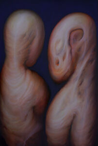 "Oil Painting Romania ""F&F"" Flesh Tones Strange Edgar Balogh Baroque Wave"