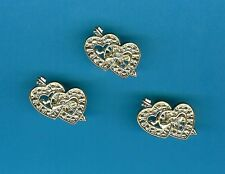 10 GOLD DOUBLE HEARTS WEDDING / ANNIVERSARY CAKE DECORATIONS cupcakes / favours