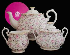 ROYAL ALBERT VINTAGE ROSE CONFETTI TEAPOT MILK JUG AND COVERED SUGAR BOXED