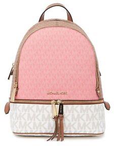 Michael Kors Rhea Backpack Tea Rose MLT Authentic NWT Pink/Tan