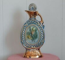 New listing 1973 Jim Beam Blue & Gold Tulips Decanter Liquor Bottle - Regal China