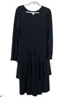 LuLaRoe 2XL Tiered Dress Womens Plus Solid Black Long Sleeve Georgia
