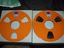 """Reel to Reel Ampex Orange tape on 10 inch 1/4"""" metal NAB HUB REVOX OTARI STUDER"""