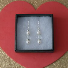 Beautiful Earrings With Freshwater Pearls & Diamantino 3.5 Cm.Long+Silver Hooks